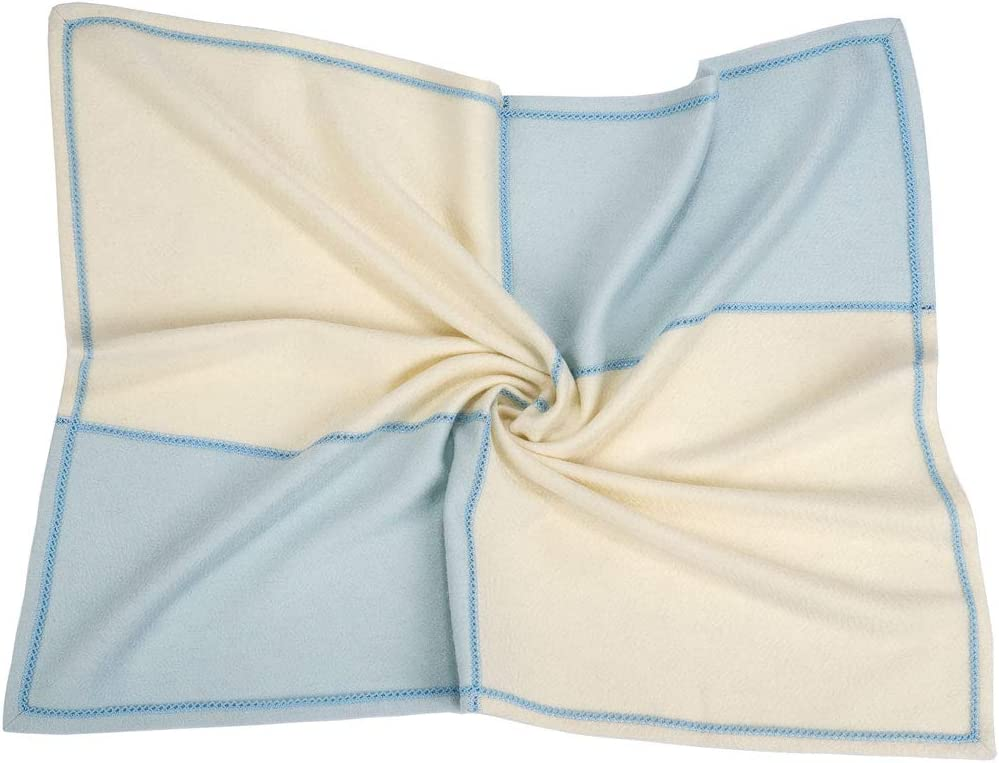 70 x 90 cm Colore Azzurro DP e Bianco Naturale Coperta bambino in Cashmere 100/% Cashmere Copertina Baby 4 pezzi