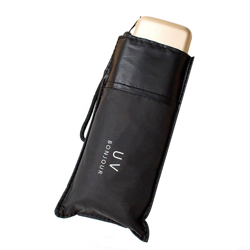 Travel Mini Umbrella Lightweight Sun Umbrella UPF50+ for Men or Women,Black