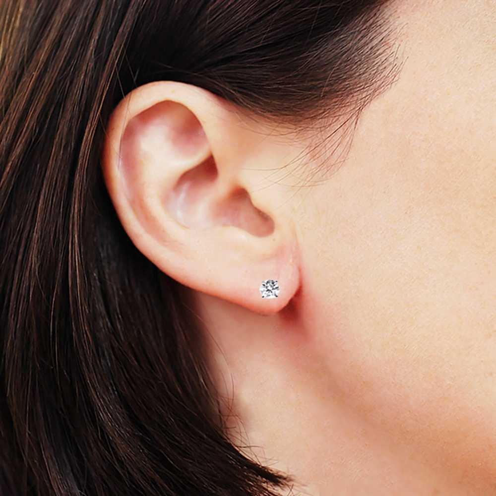 IGI Certified 1/3 cttw 14K White Gold Round Diamond Stud Earrings