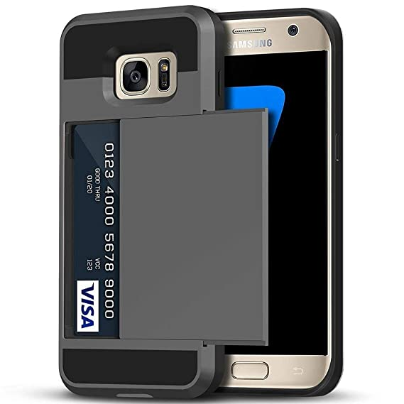 low priced a440c 9fbae Galaxy S7 Case, Anuck Credit Card Holding Case Galaxy S7 Wallet Case [Card  Slot Holder][Anti-scratch Hard Shell] Dual Layer Shockproof Rubber Bumper  ...