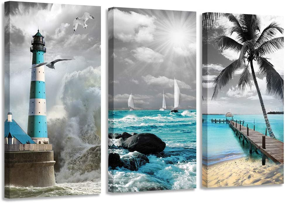 Canvas Wall Art Teal Ocean Painting Seascape Lighthouse Blue Pictures Prints Modern Coastal Beach Artwork Tropical Landscape for Bedroom Living Room Bathroom Home Office Decor