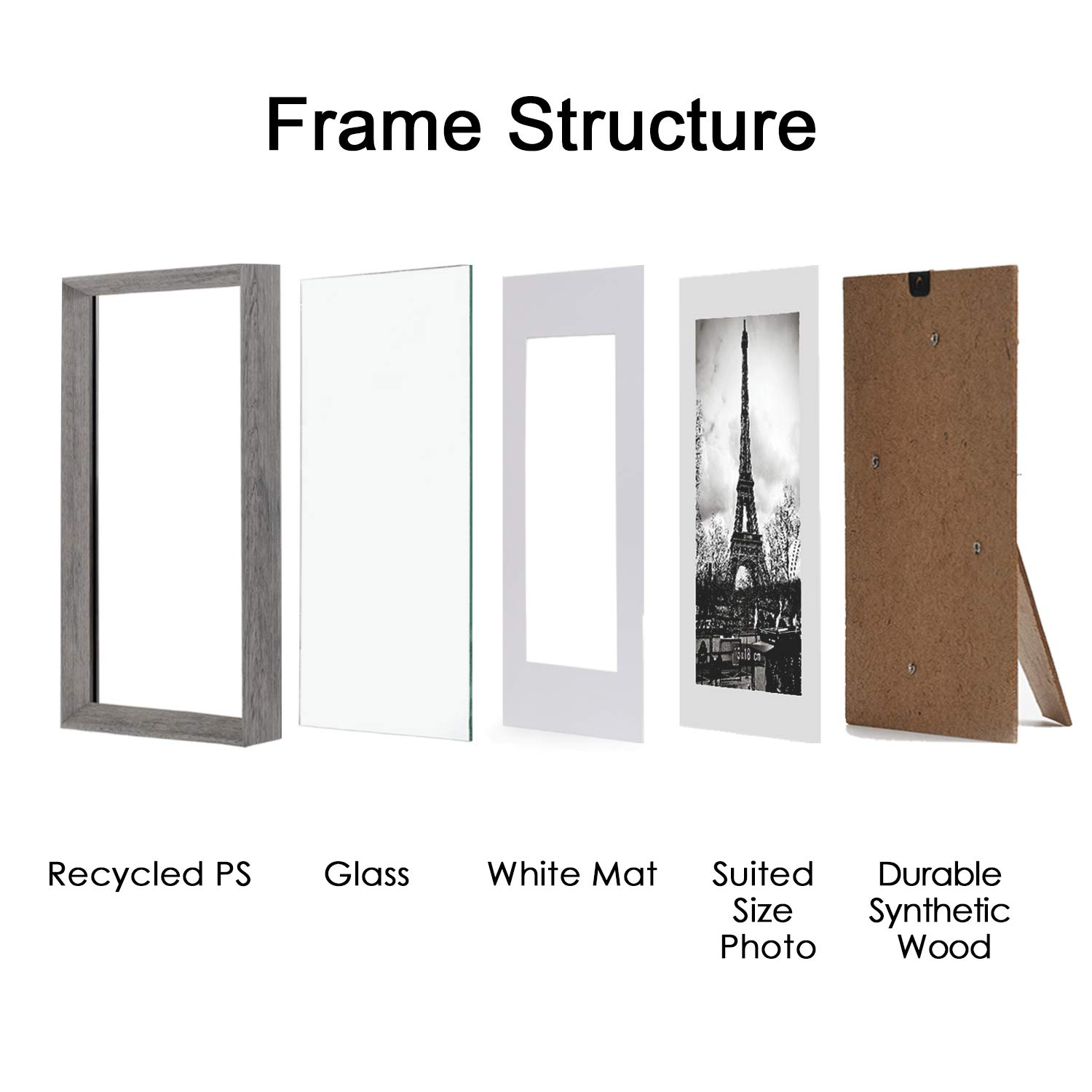upsimples 8x10 Picture Frame with Real Glass and Mat,Rustic Photo Frames for Wall or Tabletop Display,Set of 5 by upsimples (Image #6)