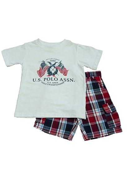 5331232b5 Amazon.com  USPA Polo Infant   Toddler Boys White T-Shirt   Red ...