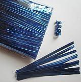 """100pcs 4"""" Metallic Blue Twist Ties"""