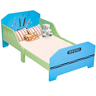 Costzon Toddler Bed, Crayon Themed Toddler Bed Frame w/Safety Rail Fence