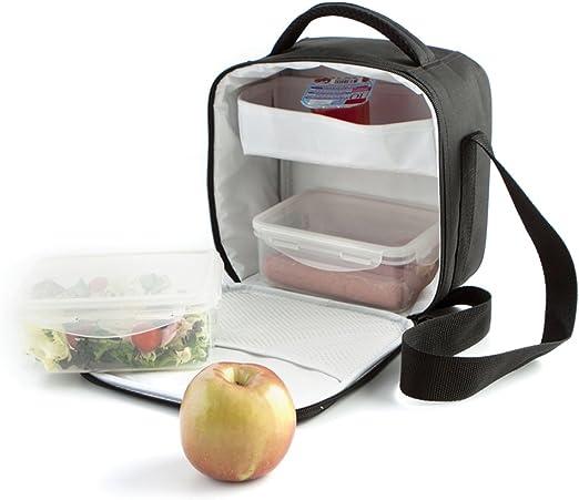 22 x 13 x 22 cm Go Lunch incl colore: Nero Quid 2 contenitori Borsa termica porta-pranzo