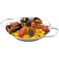 8 Inch Spanish Paella Pan, 1 Induction Ready Paella Pan - Heavy-Duty, Riveted Handles, Silver Stainless Steel Spanish…