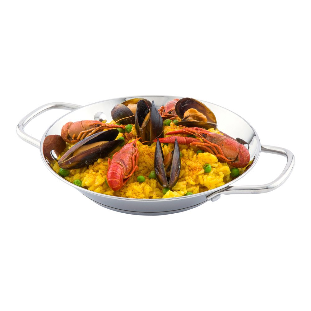 Paella Pan, Induction Ready Pan - Double Handles - Great for Rice or Stir Frys - Stainless Steel - 8 Inches - Met Lux - 1ct Box - Restaurantware