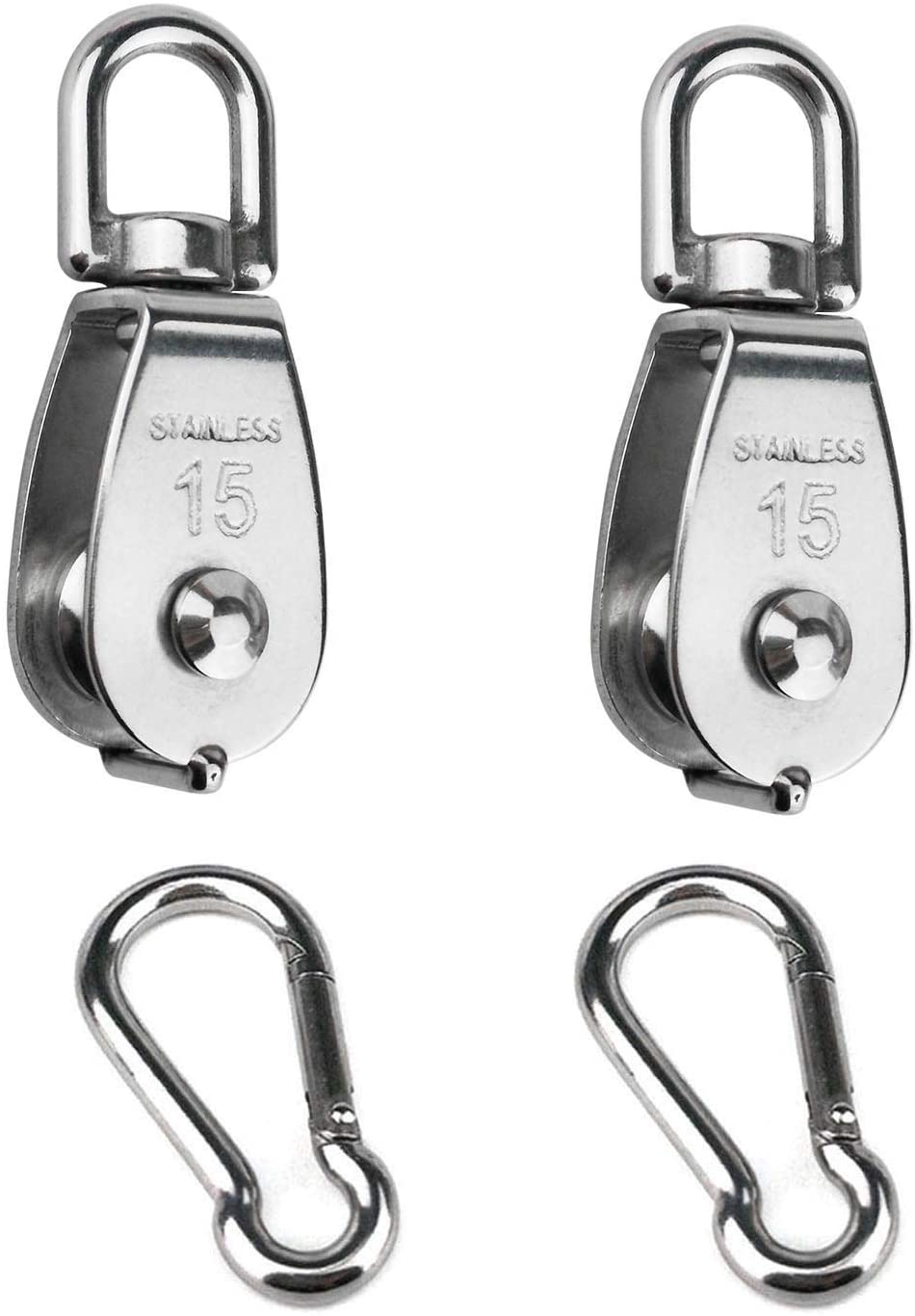 2PCS 304 Stainless Steel Single Pulley Block M15, Wire Rope Crane Pulley Block Hanging Wire Towing Wheel with 2PCS Spring Snap Hook