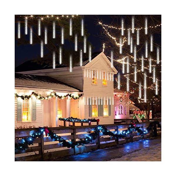 GPODER Doccia Pioggia Luci 30CM, 8 Impermeabile Spirale Tubo Luci della Pioggia di Meteore, 288 LEDs Waterfall Light per Natale/Esterno/Albero/Casa/Giardino/All'Aperto Decorazione(Bianco) 6 spesavip