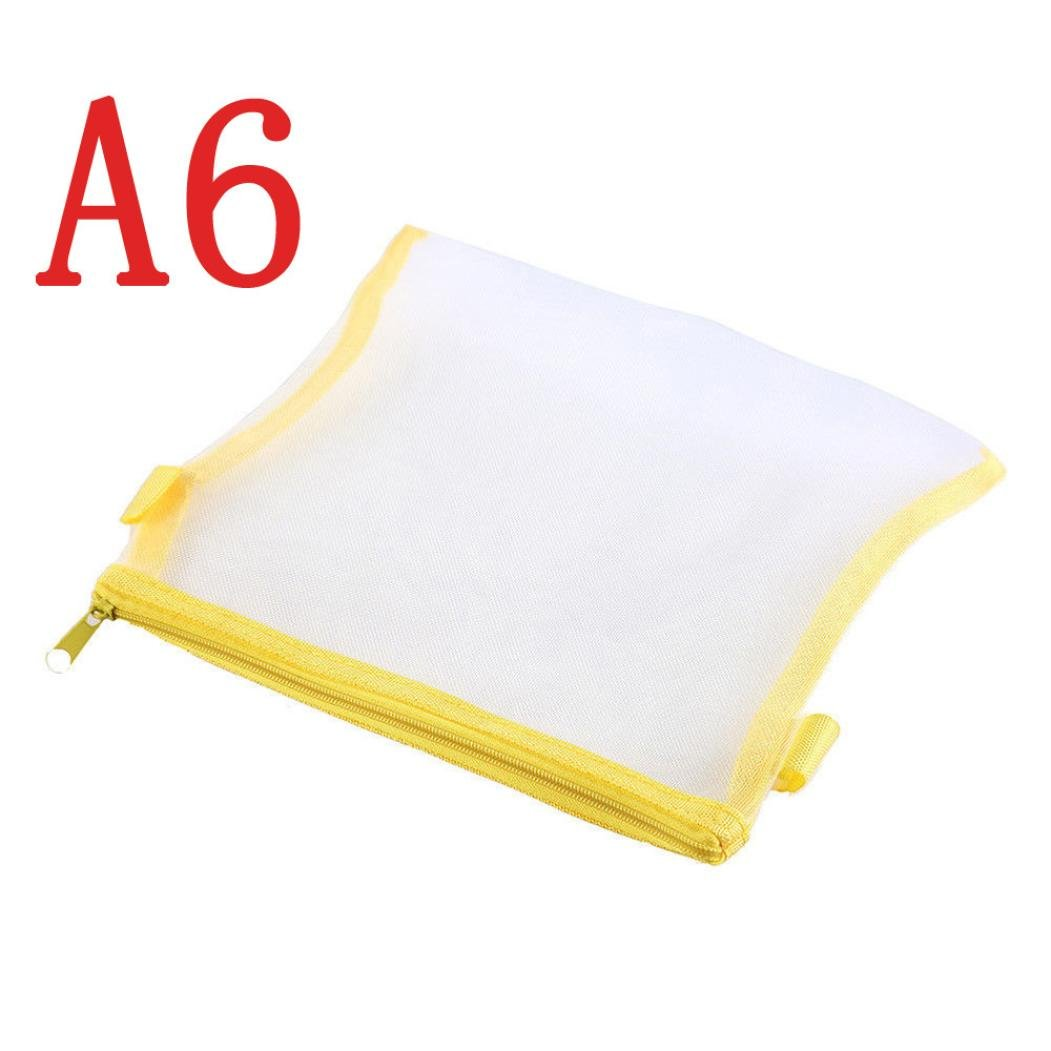 LiPing Clear Pen Pocket Protector Storage Holder Bag Pen Cases Simple Mesh Zipper Stationery Bag For Student School (A6, Yellow)