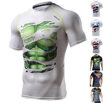 98becd9ca44 Khroom Mens Compression T-Shirt Short Sleeve Shirts with Superhero Print.  Sport Compression Base