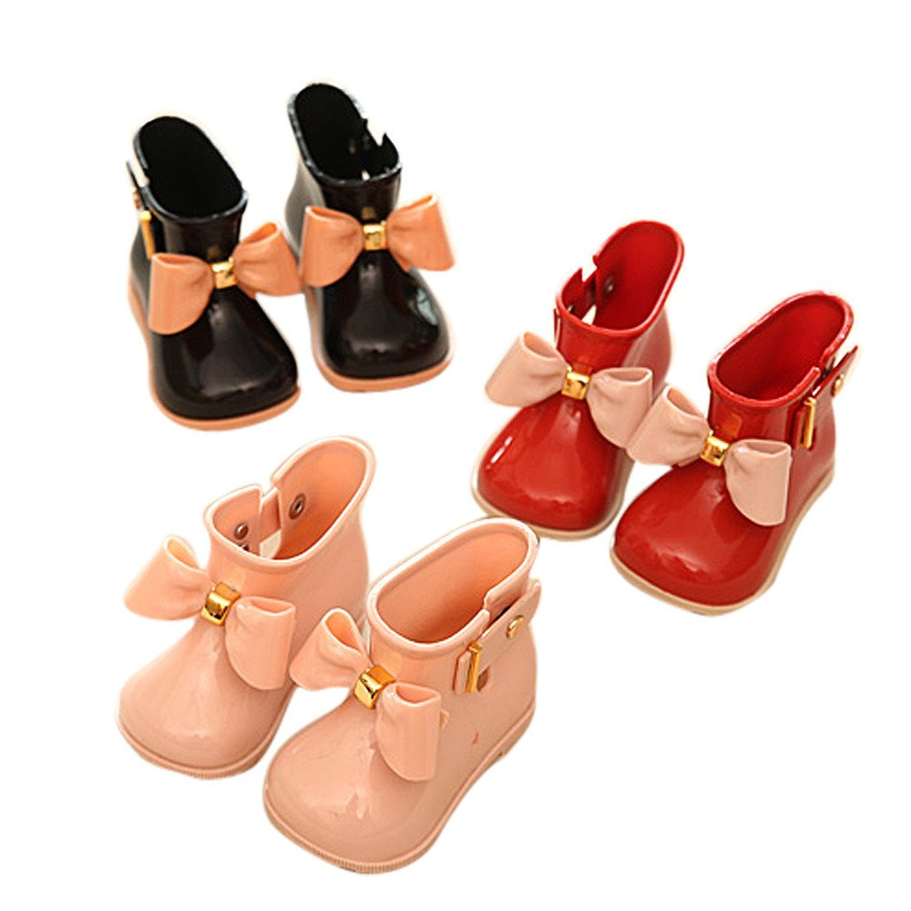 VEKDONE Toddler Bow Rain Boot Baby Boys Girls Cute Jelly Shoes