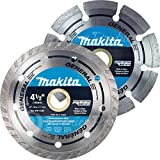 Makita 2 Piece - 4 1 2 Segmented & Turbo Rim Diamond Blade Set For Grinders - Fast & Durable Cutting For Concrete and Brick - 4-1/2'' x 7/8-Inch