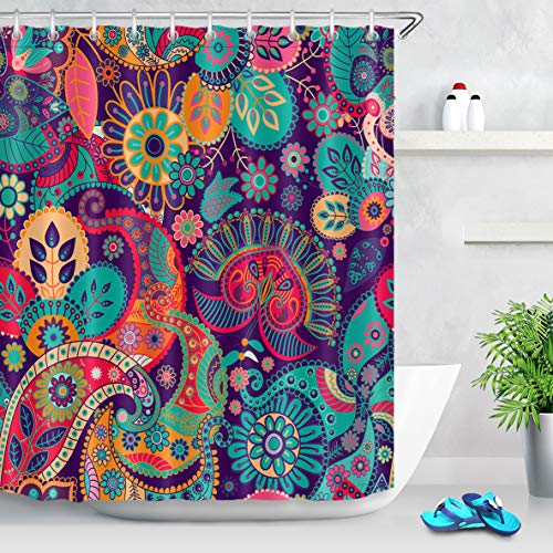 - LB Indian Mandala Paisley Shower Curtain Hippie Style Colorful Tribal Floral Peace Sign Curtains for Bohemian Bathroom Set with 10 Hooks,Waterproof Fabric 60x72 Inch