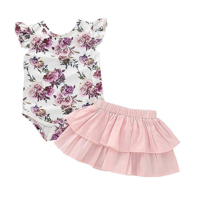 Ropa Bebé Niñas 2pcs Verano Romper Bebe Niña Manga Corta Cuello Redondo Estampado Floral + Falda