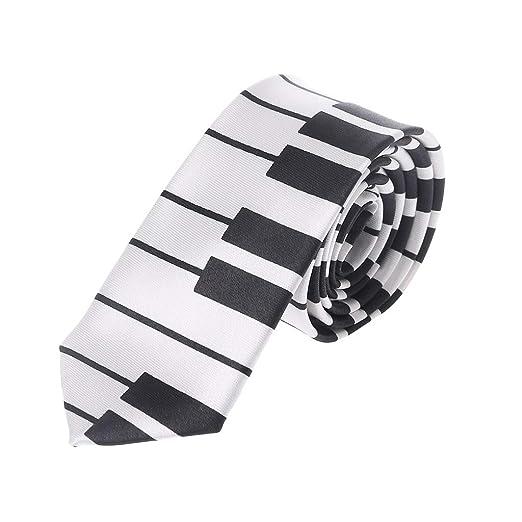 Style - Corbata para hombre, diseño de piano, color blanco y negro ...