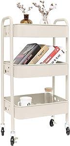 3-Tier Metal Rolling Utility Cart, Heavy Duty Storage Organizer Art Cart Craft Cart, Beige