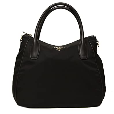 70a4d390a2c6 Amazon.com  Prada Nero Black Tessuto Soft Calf Leather and Nylon Hobo  Handbag BR4992  Shoes
