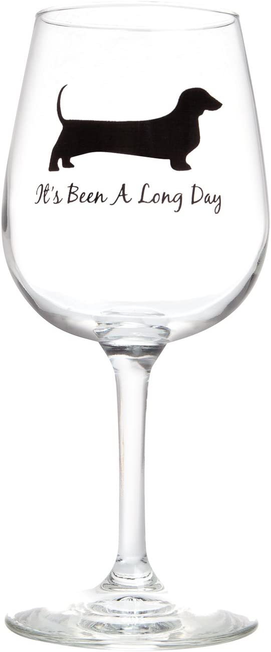 Drinking Divas - It's Been a Long Day 13oz Stemmed Wine Glass | fun glassware with dachshund, wiener dog | Birthday or Christmas gifts for women mom sister friend teacher or special occasion present