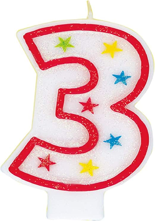 Glitter Number 3 Birthday Candle & Happy Birthday Cake Topper