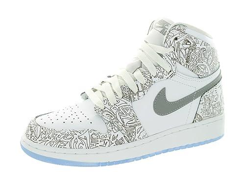 buy online a9690 ceb3a Nike Jordan Kids Air Jordan 1 Re Hi Og Laser Bg White Metallic Silver  Basketball