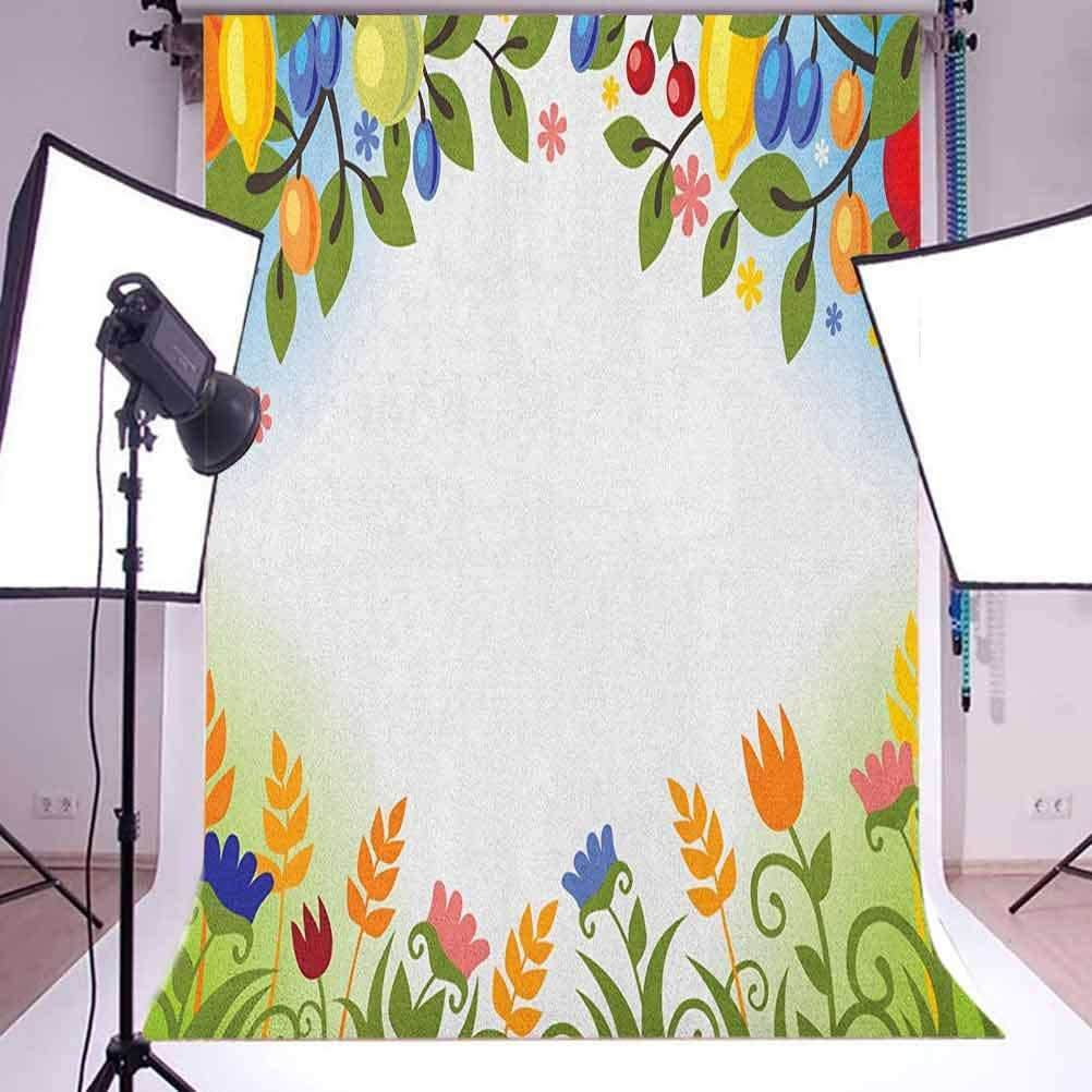 7x10 FT Vinyl Photography Background Backdrops,Fall Nature Inspired Festive Colorful Frame Fruits and Flowers Berries Swirl Leaves Background for Selfie Birthday Party Pictures Photo Booth Shoot