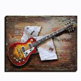 Asmork 3D Metal Art - 100% Handmade Metal Unique Wall Art - Stereograph Oil Painting - Home Decor - Ready to Hang Sculpture Artwork 3D Picture (Guitar (24 x 31 inch))