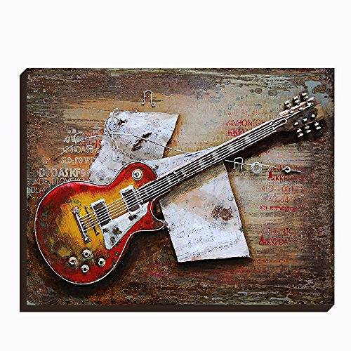 Asmork 3D Metal Art - 100% Handmade Metal Unique Wall Art - Stereograph Oil Painting - Home Decor - Ready to Hang Sculpture Artwork 3D Picture (Guitar (24 x 31 inch)) by Asmork