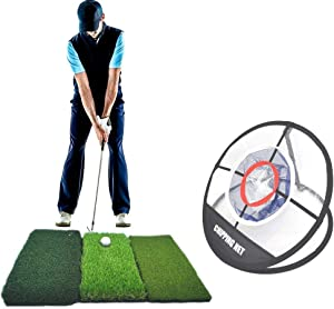 Tri-Turf Golf Mat and Portable Chipping Net Combo   Driving, Hitting, Chipping Mat   Golf Target Net, for Home-use, Office, Backyard, Outdoor, Indoor, Golf Practice, Golf Training