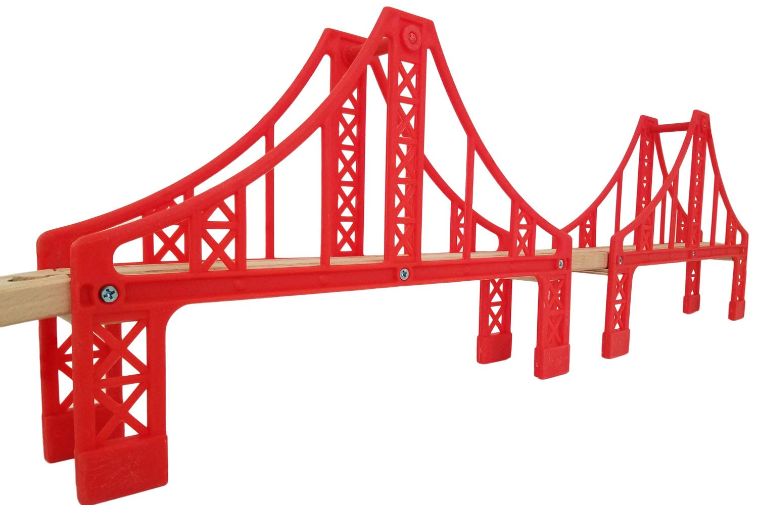 Flash Sale | Double Suspension Bridge - Deluxe Wooden Toy Accessories for Kids Toddler Boys Girls - Compatible with Thomas Trains Railway, Brio Tracks, and Major Brands. 2X Red Bridges ToysOpoly