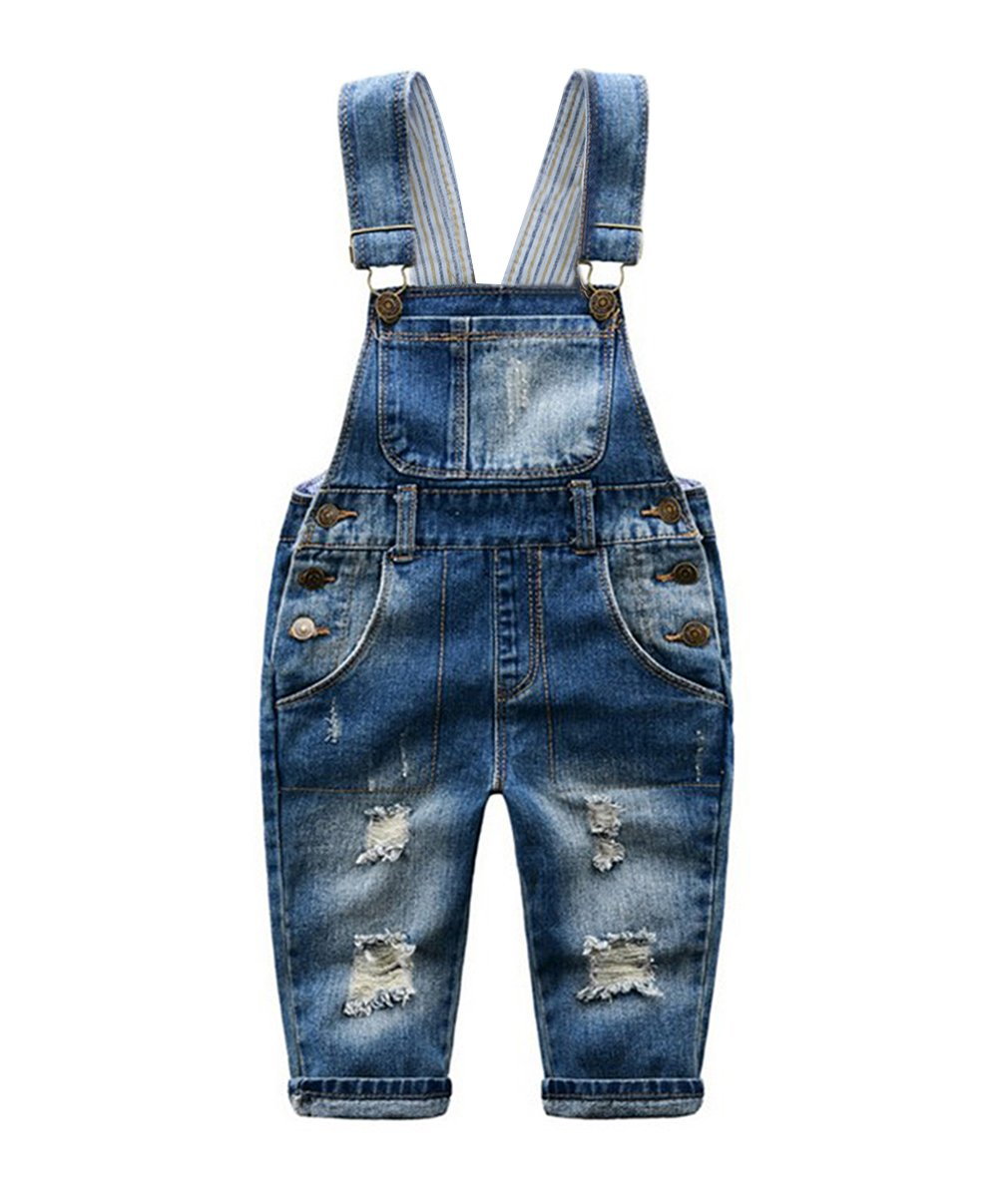 Tortor 1Bacha Little Girls' Ripped Distressed Denim Bib Overall 3T by Tortor 1Bacha (Image #1)
