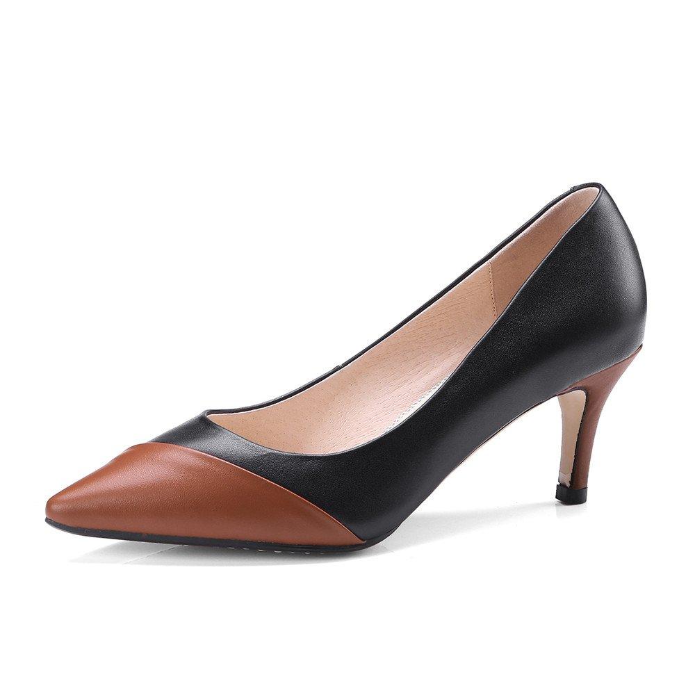 Nine Seven Genuine Leather Womens Pointed Toe Stiletto Heel Handmade Slip On Cap-Toe Pumps