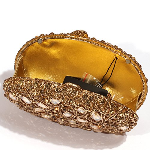 Colourful Clutch Women Crystal Circular Gold leaf Pattern Bags Evening Digabi ZwqTId0d
