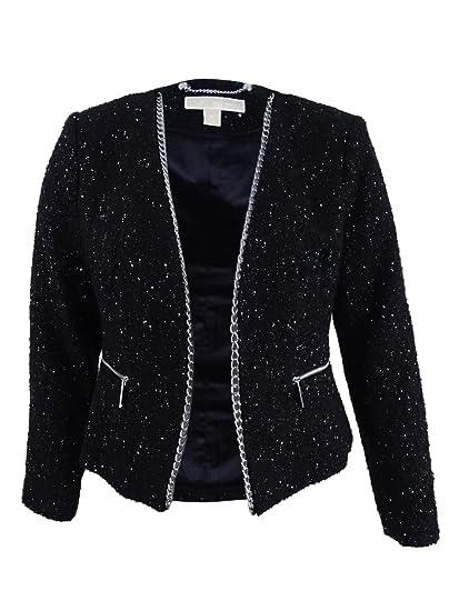 6b5c86c18e37 Amazon.com: MICHAEL Michael Kors Women's Chain Trimmed Tweed Jacket  (Black/Silver, Large): Clothing