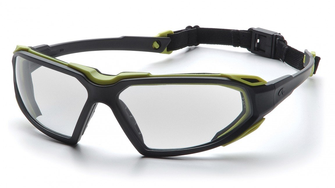 Pyramex SBL5010DT Highlander Safety Glasses Black Lime Clear Anti-Fog Len(12 Pair)