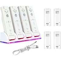 Insten 4 Port Quad Charging Station with 4 Rechargeable 2800 mAh Battery Compatible with Nintendo Wii Remote Control, White