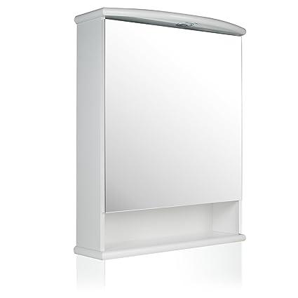 Specchio Bagno Con Lampada.Specchio Contenitore Moderno Per Bagno Con Luce Katia Amazon It