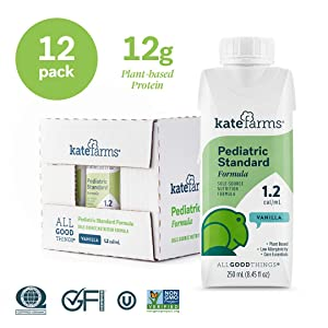 Kate Farms Pediatric Standard 1.2 Vanilla Formula Drink, Organic Plant-Based Protein, Essential Vitamins, Ready To Use Complete Nutrition for Oral and Tube Fed, 8 Fluid Ounces (Case of 12)