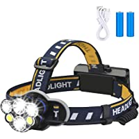 Rechargeable Headlamp, 8 Modes Waterproof Flashlight Head Lights 6 LEDs for Camping Hiking Hunting Outdoors, 2 X 18650…