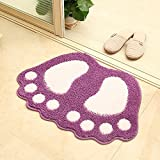 Flocking Suction Door Mat Mat Step Mat The Bedroom Carpet Toilet Bathroom Anti-skid Pads Machine Washable (Red)