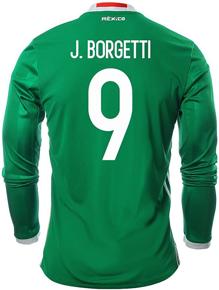 J. Borgetti #9 Mexico Men's Home Jersey Long Sleeve 2016