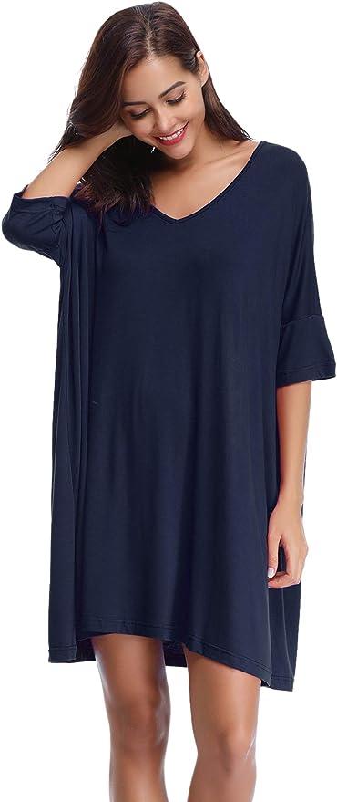 Donna Manica Lunga Camicia da Notte Comodo Semplice Pigiama Modal Magliette Vestito Sciolto Casual Girocollo Abito chuangminghangqi