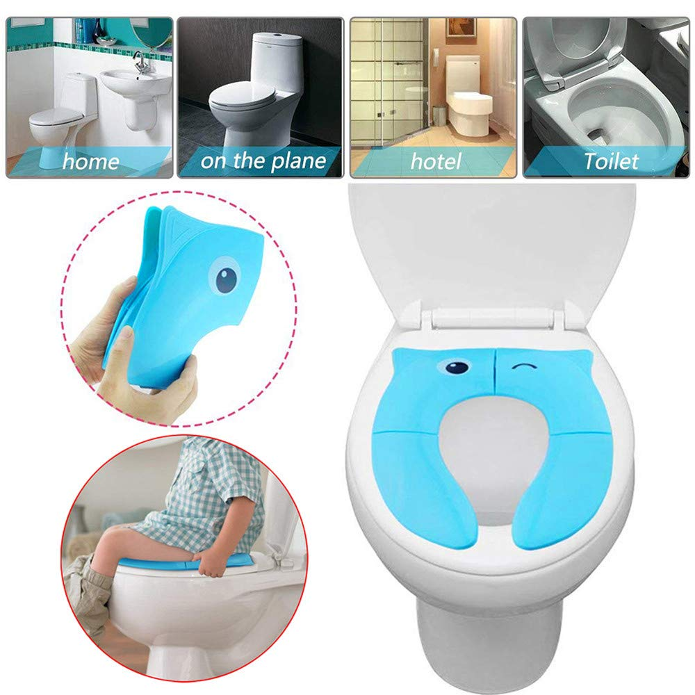 sunnymi Child Infant Foldable Potty Training Seat Baby Travel Toilet Potty Seat Covers Non Slip Pads (Blue)
