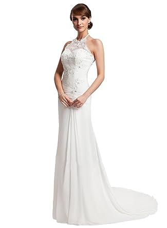 f3ef419074 Loffy Women s Lace Wedding Dress Mermaid Evening Dress Free With Belt Ivory  Size 2