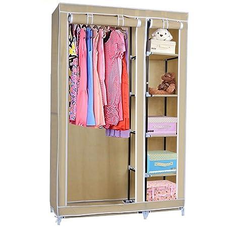 Portable clothes closet effect wardrobe storage organizer with shelves beige