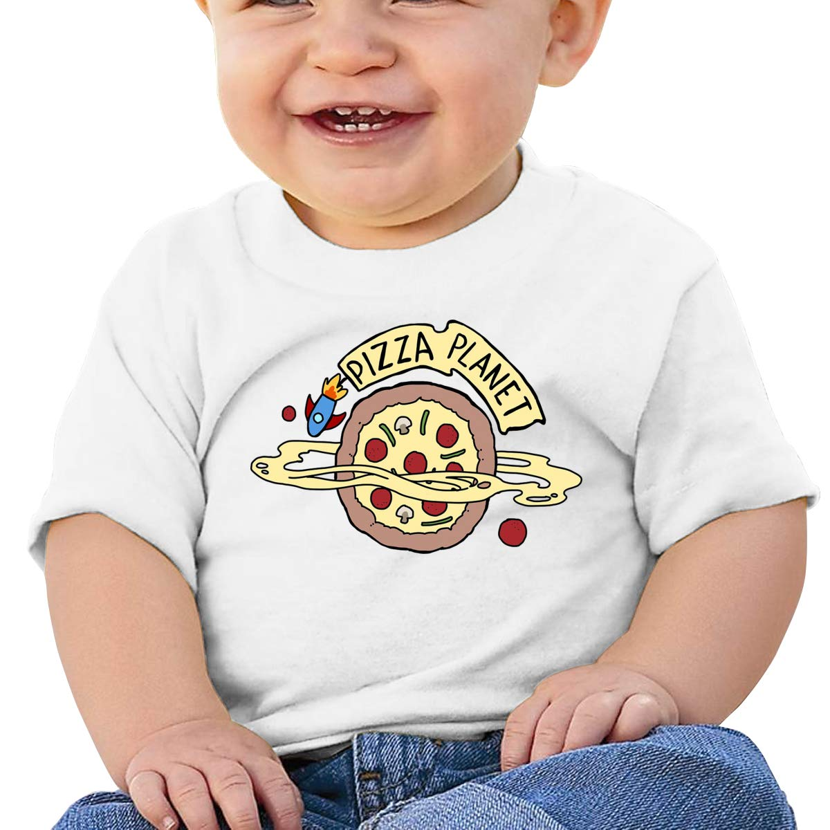 AiguanPIZZA Planet Toddler//Infant Short Sleeve Cotton T Shirts White
