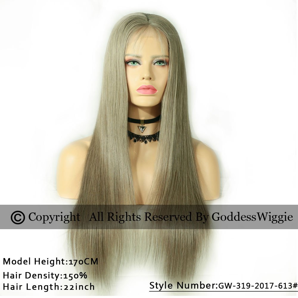 New Fashion Hair Color Ash Golden Brown Silky Straight Glueless Brazilian Human Hair Lace Front Wigs For Women (20inch 130%)