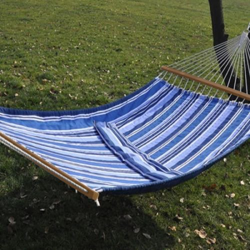 Price comparison product image NEW Quilted Cotton Hammock Double Wide Blue Solid Wood Spreaders 2 Person 450lbs