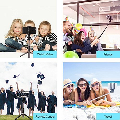 Selfie Stick, Jopree Bluetooth Selfie Stick with Wireless Remote Shutter, 4 in 1 Mini Pocket 360 Degree Rotation Extendable Tripod Aluminum Alloy for Gopro iPhone/Samsung/Android/Other Smart phone &T